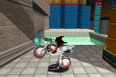 Shadow the Hedgehog in a bike