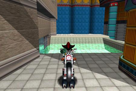 Shadow the Hedgehog in a bike
