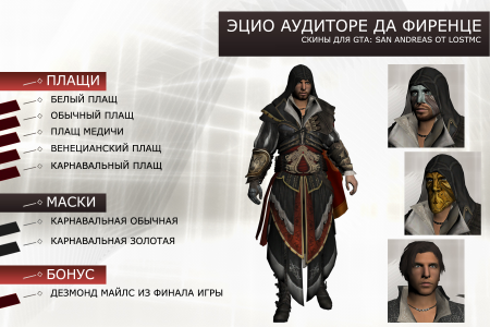 Эцио Аудиторе из Assassin's Creed II (Пак скинов)